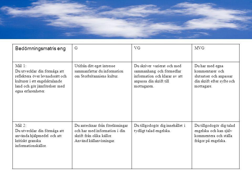 Bedömningsmatris eng GVGMVG Mål 1: Du utvecklar din förmåga att reflektera över levnadssätt och kulturer i ett engelsktalande land och gör jämförelser