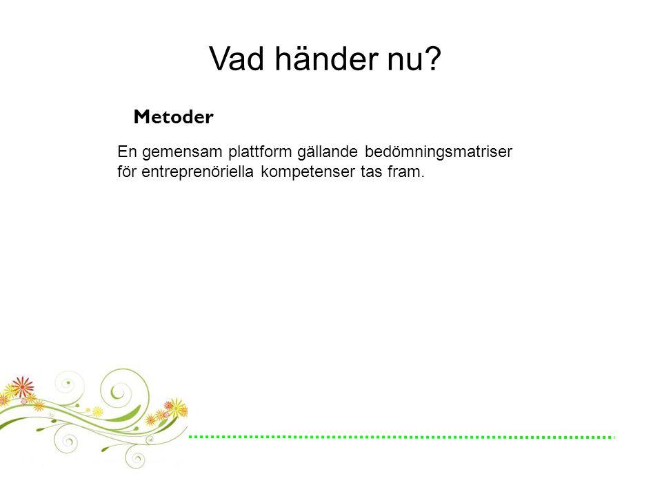 Vad händer nu? Metoder En gemensam plattform gällande bedömningsmatriser för entreprenöriella kompetenser tas fram.