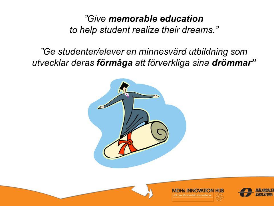 """""""Give memorable education to help student realize their dreams."""" """"Ge studenter/elever en minnesvärd utbildning som utvecklar deras förmåga att förverk"""