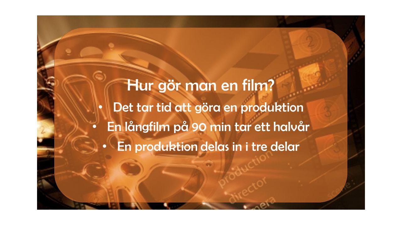 • Det tar tid att göra en produktion • En långfilm på 90 min tar ett halvår • En produktion delas in i tre delar