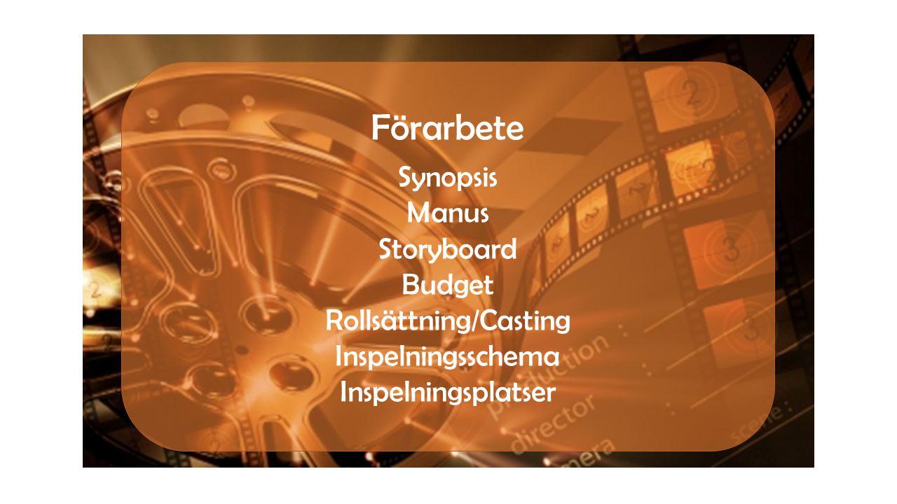 Förarbete Synopsis Manus Storyboard Budget Rollsättning/Casting Inspelningsschema Inspelningsplatser