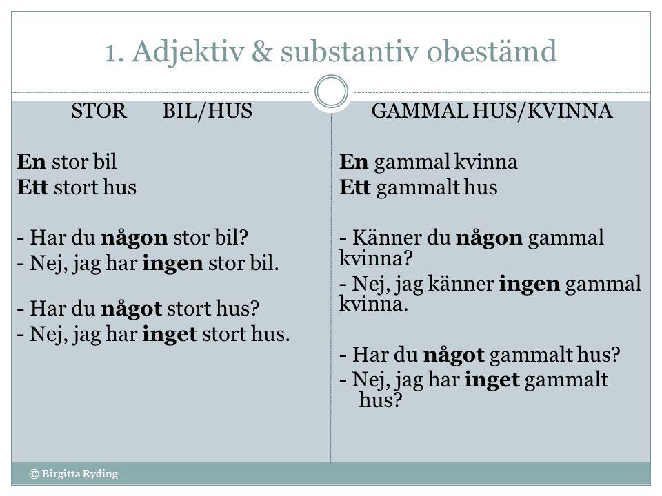 2.Adjektiv bestämd & substantiv obestämd NY KLASS/JOBB Min ………..