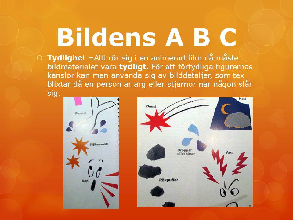 Bildens A B C  Tydlighet =Allt rör sig i en animerad film då måste bildmaterialet vara tydligt. För att förtydliga figurernas känslor kan man använda