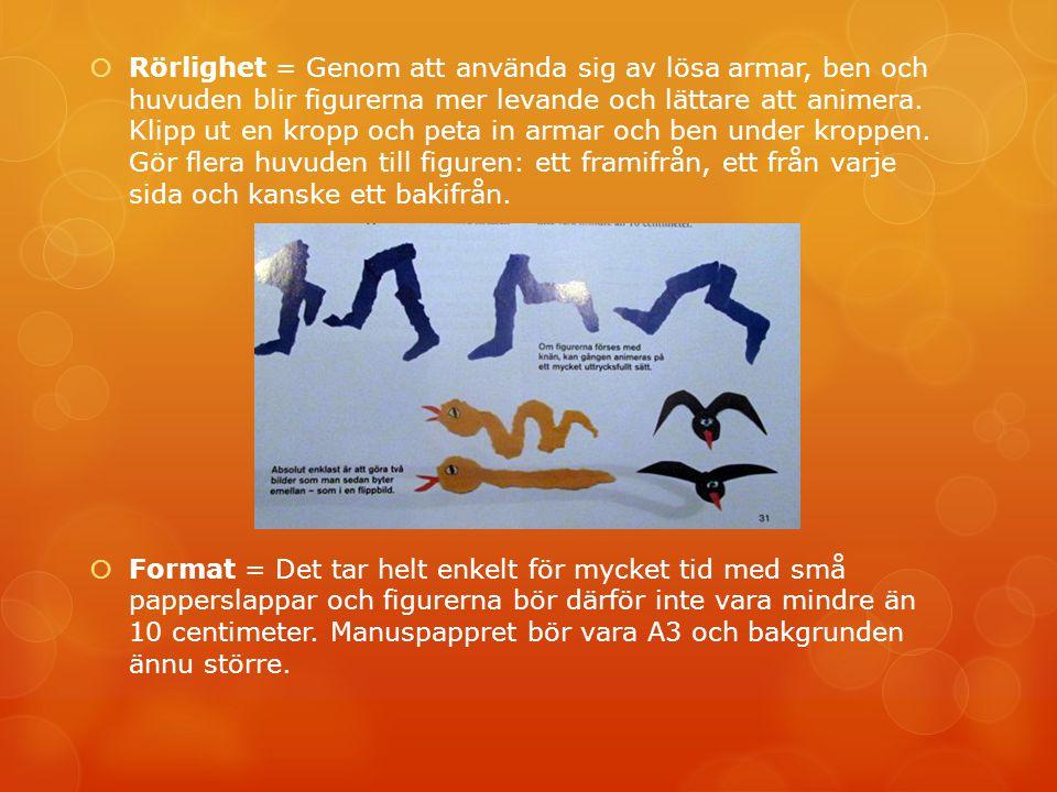 Rörlighet = Genom att använda sig av lösa armar, ben och huvuden blir figurerna mer levande och lättare att animera. Klipp ut en kropp och peta in a