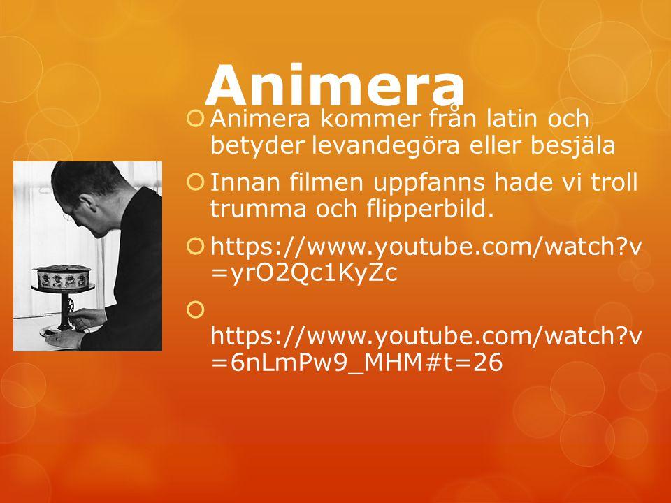Animera  Animera kommer från latin och betyder levandegöra eller besjäla  Innan filmen uppfanns hade vi troll trumma och flipperbild.  https://www.