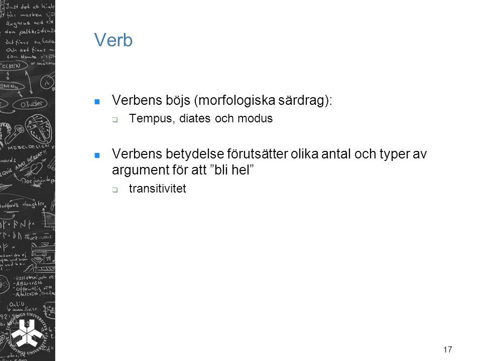 """17 Verb  Verbens böjs (morfologiska särdrag):  Tempus, diates och modus  Verbens betydelse förutsätter olika antal och typer av argument för att """"b"""