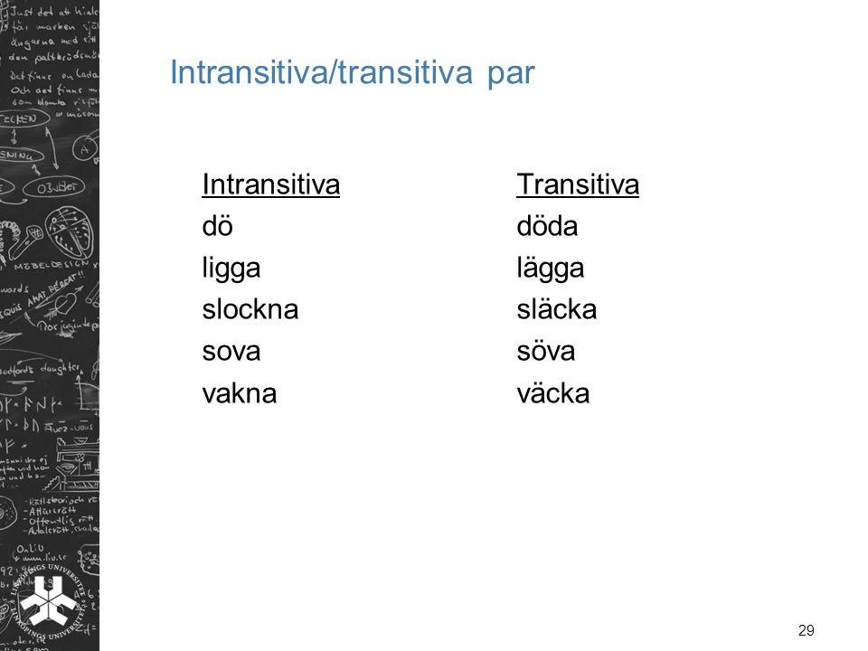 29 Intransitiva/transitiva par Intransitiva Transitiva dödöda liggalägga slocknasläcka sovasöva vaknaväcka