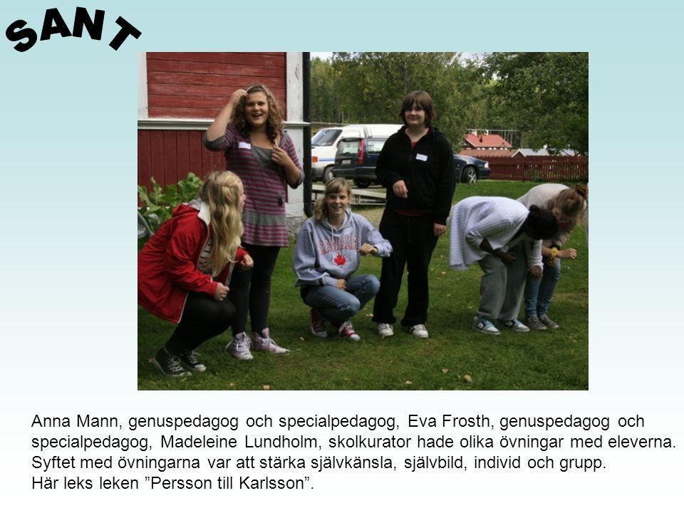 Anna Mann, genuspedagog och specialpedagog, Eva Frosth, genuspedagog och specialpedagog, Madeleine Lundholm, skolkurator hade olika övningar med eleve