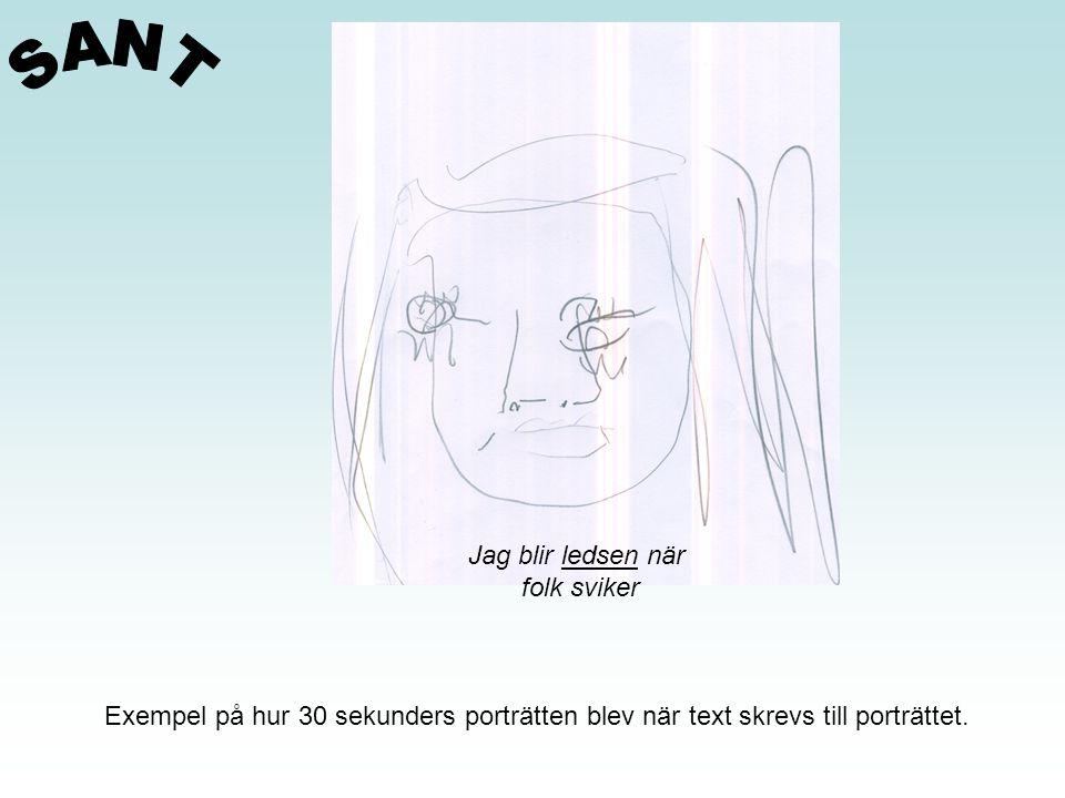 Exempel på hur 30 sekunders porträtten blev när text skrevs till porträttet. Jag blir ledsen när folk sviker