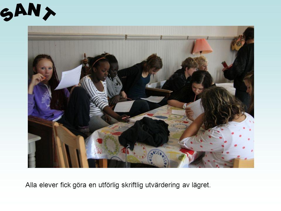 Alla elever fick göra en utförlig skriftlig utvärdering av lägret.