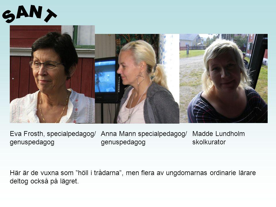 Eva Frosth, specialpedagog/ genuspedagog Anna Mann specialpedagog/ genuspedagog Madde Lundholm skolkurator Här är de vuxna som höll i trådarna , men flera av ungdomarnas ordinarie lärare deltog också på lägret.