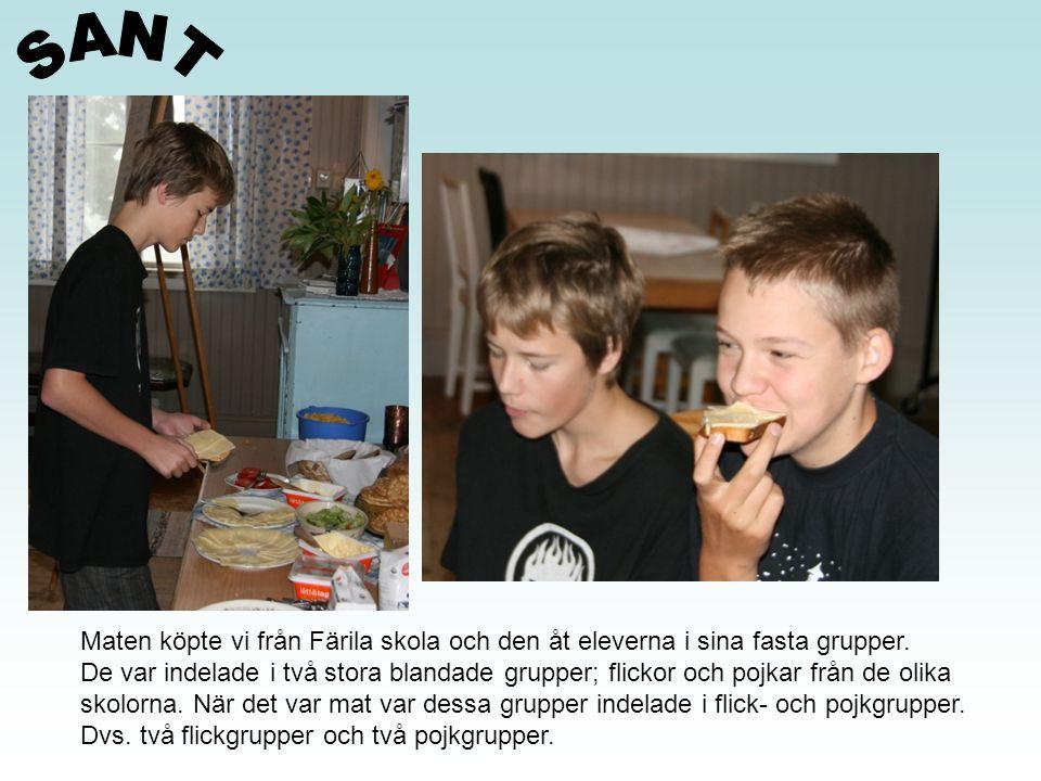 Maten köpte vi från Färila skola och den åt eleverna i sina fasta grupper. De var indelade i två stora blandade grupper; flickor och pojkar från de ol