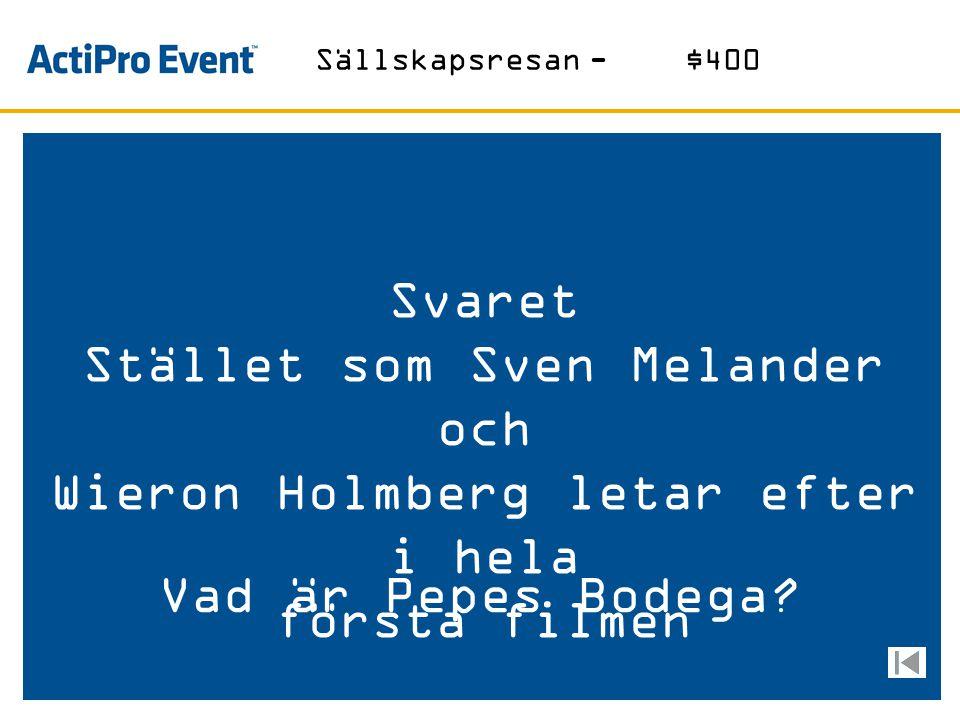 """Svaret Härifrån kommer skidligisterna i """"Snowroller"""" Vad är Hökarängen? Sällskapsresan-$200"""