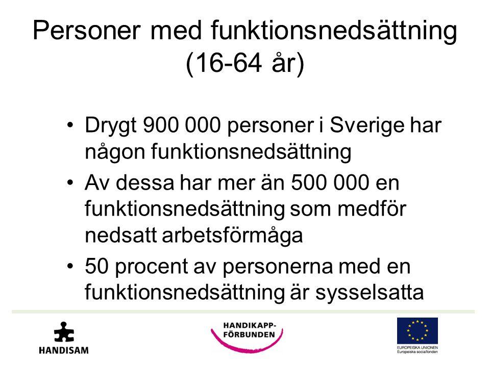 Personer med funktionsnedsättning (16-64 år) •Drygt 900 000 personer i Sverige har någon funktionsnedsättning •Av dessa har mer än 500 000 en funktion