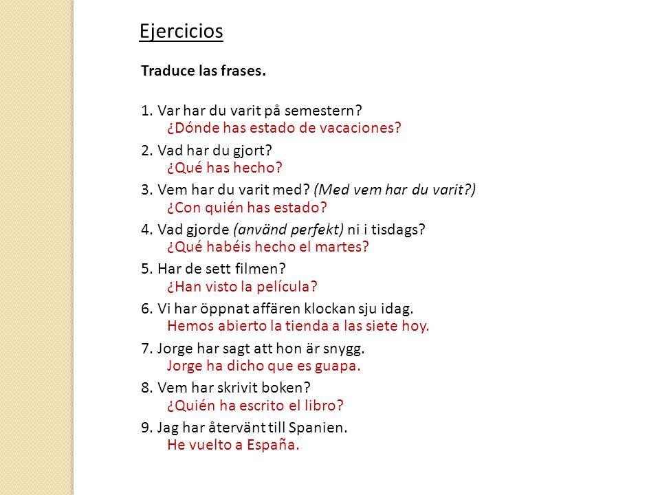 Ejercicios Traduce las frases. 1. Var har du varit på semestern.