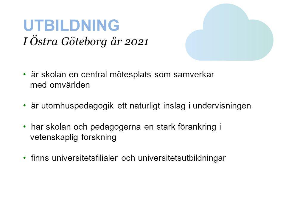 UTBILDNING I Östra Göteborg år 2021 • är skolan en central mötesplats som samverkar med omvärlden • är utomhuspedagogik ett naturligt inslag i undervi