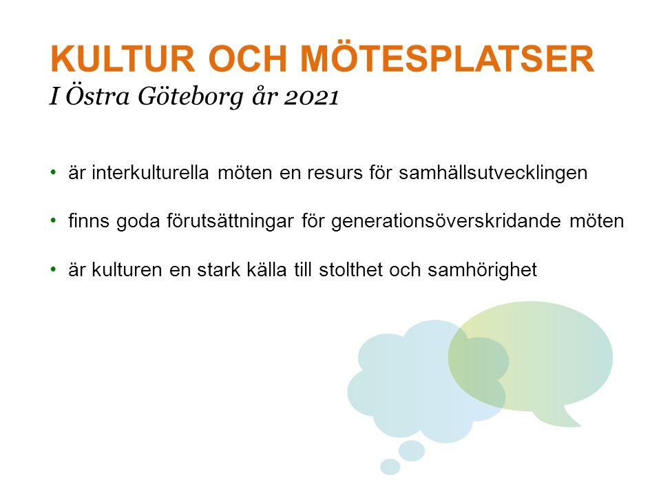 KULTUR OCH MÖTESPLATSER I Östra Göteborg år 2021 • är interkulturella möten en resurs för samhällsutvecklingen • finns goda förutsättningar för genera