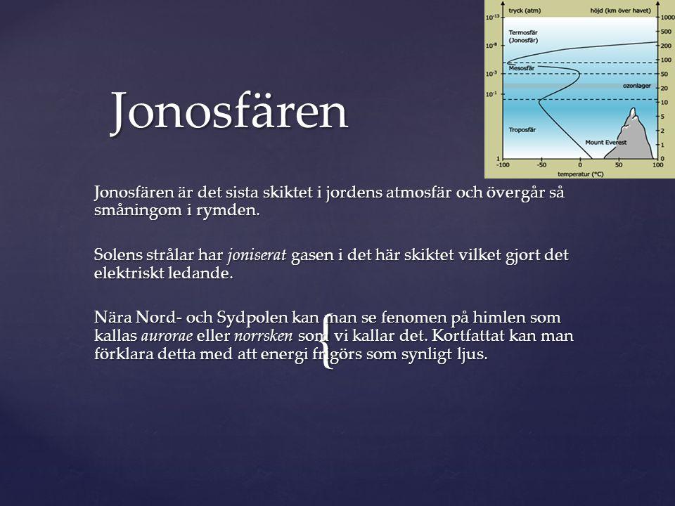 { Jonosfären är det sista skiktet i jordens atmosfär och övergår så småningom i rymden. Solens strålar har joniserat gasen i det här skiktet vilket gj