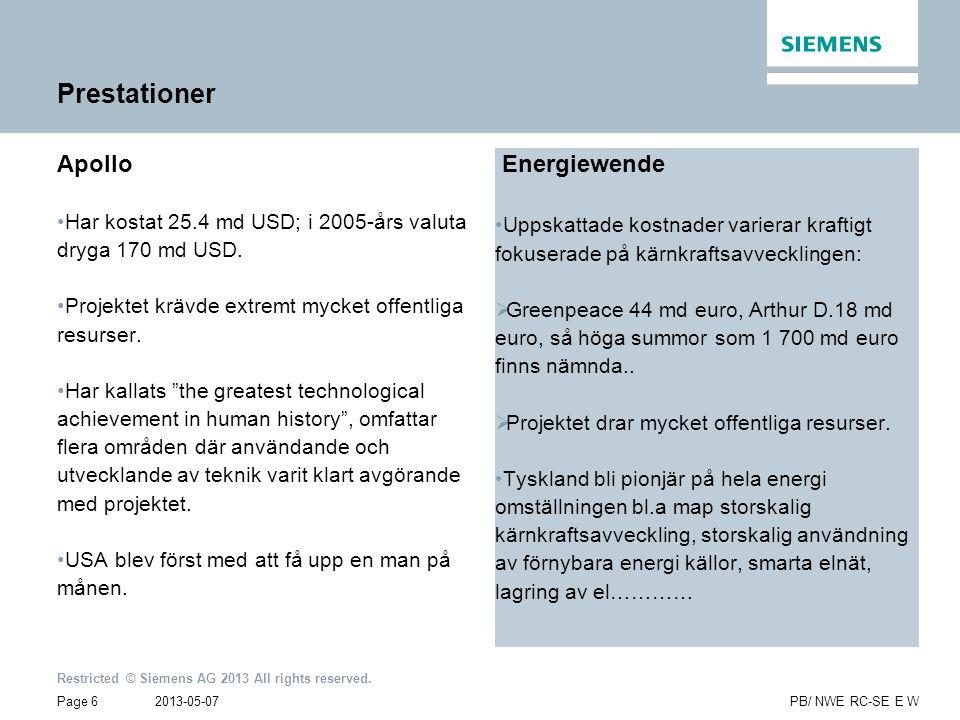 2013-05-07 Restricted © Siemens AG 2013 All rights reserved. Page 6PB/ NWE RC-SE E W Prestationer Apollo •Har kostat 25.4 md USD; i 2005-års valuta dr