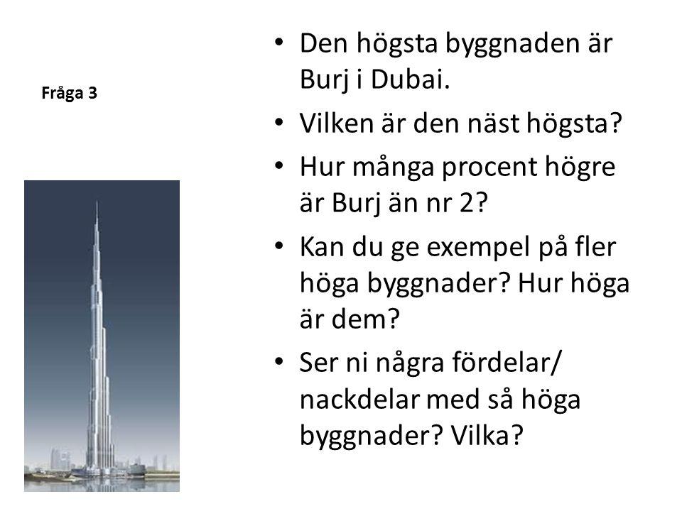 Fråga 3 • Den högsta byggnaden är Burj i Dubai. • Vilken är den näst högsta? • Hur många procent högre är Burj än nr 2? • Kan du ge exempel på fler hö