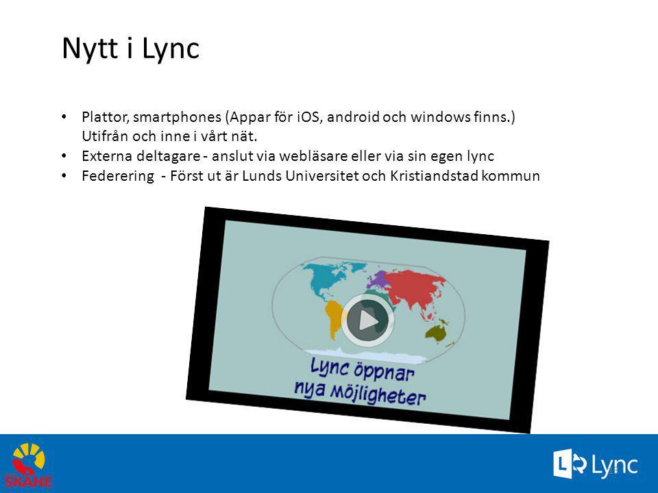 Nytt i Lync • Plattor, smartphones (Appar för iOS, android och windows finns.) Utifrån och inne i vårt nät. • Externa deltagare - anslut via webläsare