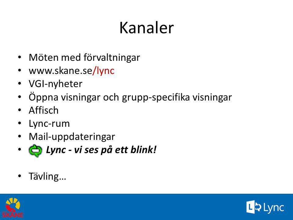 Kanaler • Möten med förvaltningar • www.skane.se/lync • VGI-nyheter • Öppna visningar och grupp-specifika visningar • Affisch • Lync-rum • Mail-uppdat