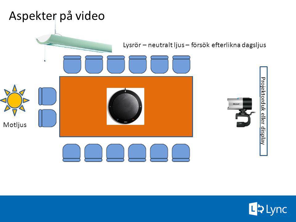 Projektorduk eller display Aspekter på video Motljus Lysrör – neutralt ljus – försök efterlikna dagsljus 59