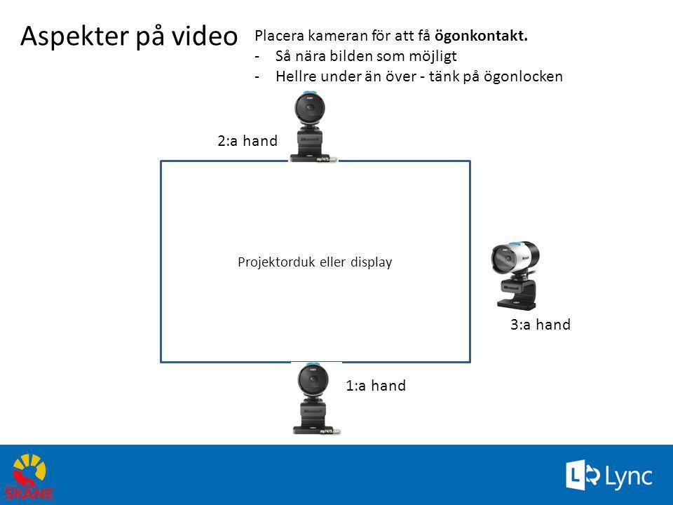 Projektorduk eller display Aspekter på video Placera kameran för att få ögonkontakt. -Så nära bilden som möjligt -Hellre under än över - tänk på ögonl