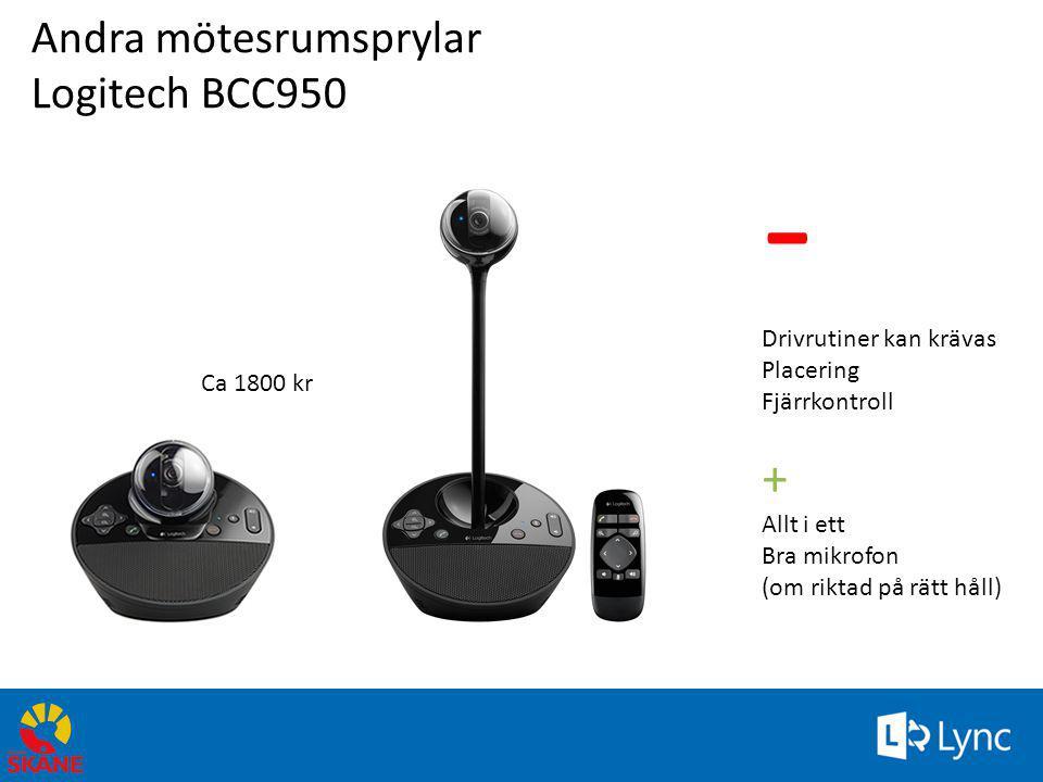 Andra mötesrumsprylar Logitech BCC950 - Drivrutiner kan krävas Placering Fjärrkontroll + Allt i ett Bra mikrofon (om riktad på rätt håll) Ca 1800 kr 7