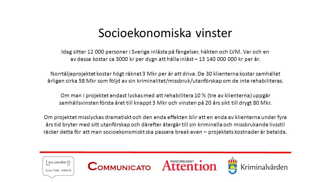 Socioekonomiska vinster Idag sitter 12 000 personer i Sverige inlåsta på fängelser, häkten och LVM. Var och en av dessa kostar ca 3000 kr per dygn att