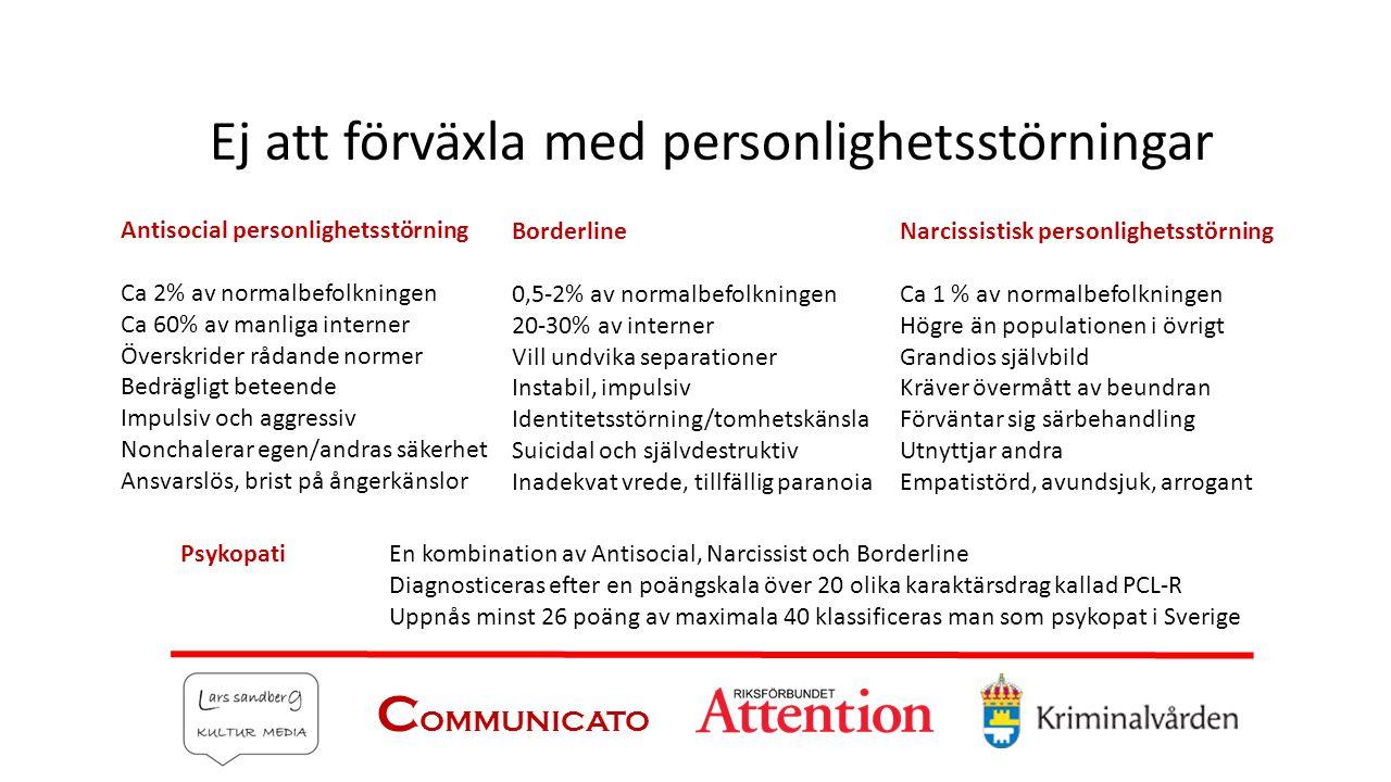 C OMMUNICATO Ej att förväxla med personlighetsstörningar Antisocial personlighetsstörning Ca 2% av normalbefolkningen Ca 60% av manliga interner Övers