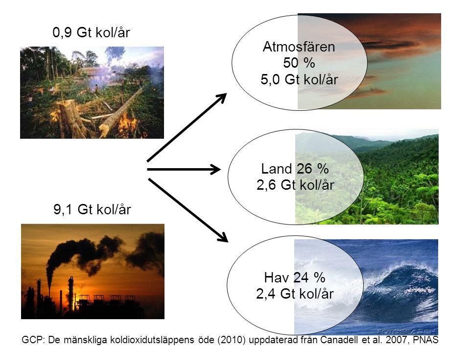 GCP: De mänskliga koldioxidutsläppens öde (2010) uppdaterad från Canadell et al. 2007, PNAS 0,9 Gt kol/år 9,1 Gt kol/år Atmosfären 50 % 5,0 Gt kol/år