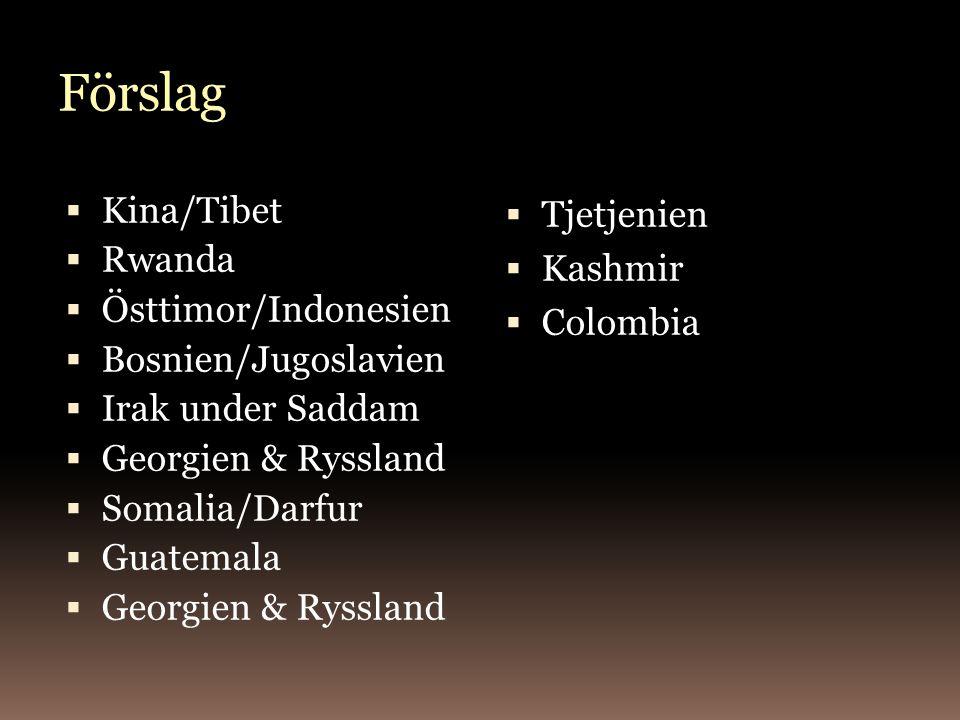 Förslag  Kina/Tibet  Rwanda  Östtimor/Indonesien  Bosnien/Jugoslavien  Irak under Saddam  Georgien & Ryssland  Somalia/Darfur  Guatemala  Georgien & Ryssland  Tjetjenien  Kashmir  Colombia