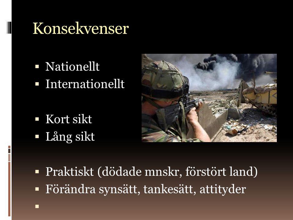 Konsekvenser  Nationellt  Internationellt  Kort sikt  Lång sikt  Praktiskt (dödade mnskr, förstört land)  Förändra synsätt, tankesätt, attityder 