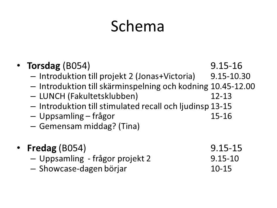 Schema • Torsdag (B054)9.15-16 – Introduktion till projekt 2 (Jonas+Victoria)9.15-10.30 – Introduktion till skärminspelning och kodning10.45-12.00 – LUNCH (Fakultetsklubben)12-13 – Introduktion till stimulated recall och ljudinsp13-15 – Uppsamling – frågor15-16 – Gemensam middag.