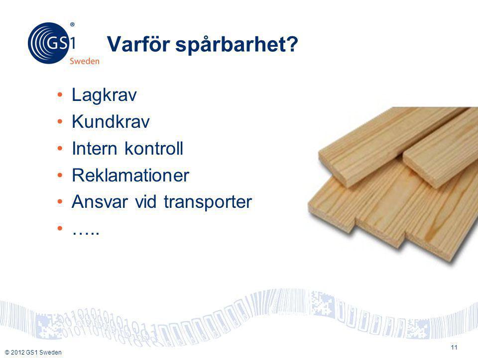 © 2012 GS1 Sweden Varför spårbarhet? •Lagkrav •Kundkrav •Intern kontroll •Reklamationer •Ansvar vid transporter •….. 11
