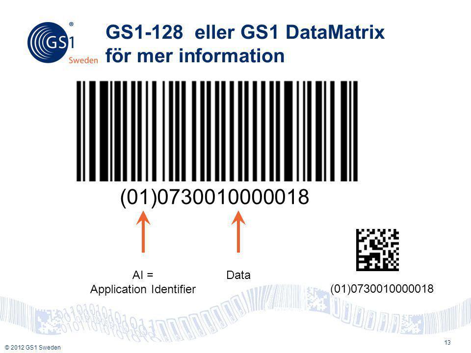 © 2012 GS1 Sweden GS1-128 eller GS1 DataMatrix för mer information 13 (01)0730010000018 AI = Application Identifier Data (01)0730010000018