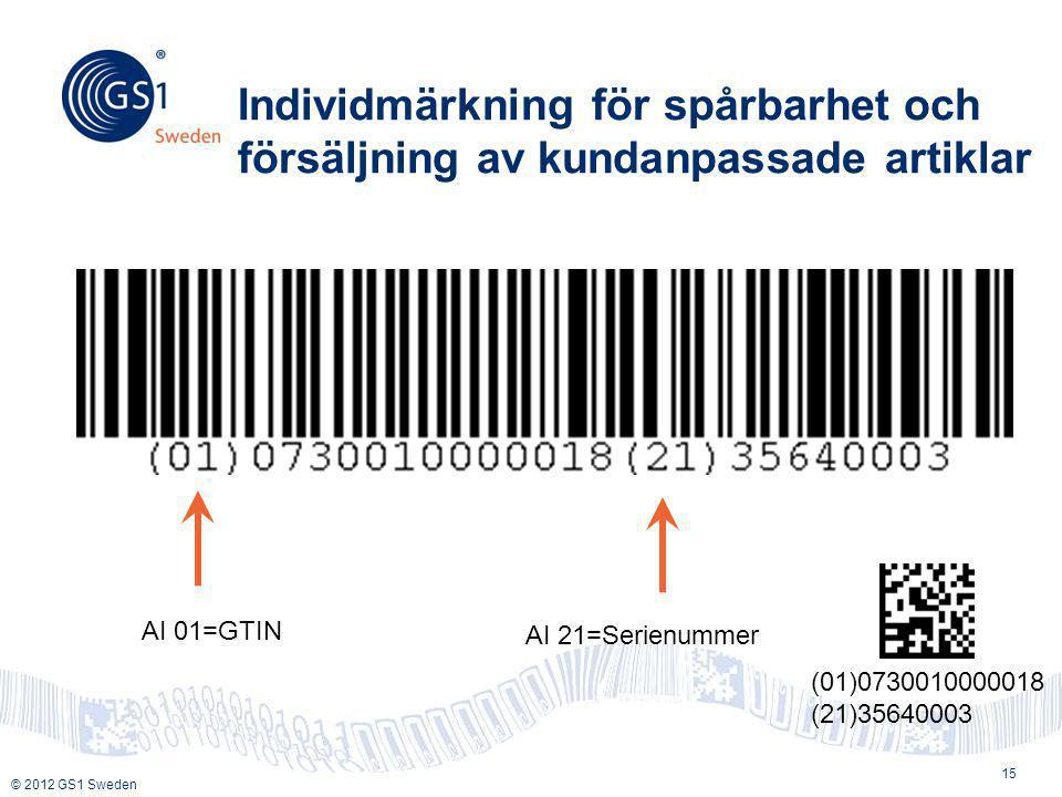 © 2012 GS1 Sweden Individmärkning för spårbarhet och försäljning av kundanpassade artiklar 15 AI 01=GTIN AI 21=Serienummer (01)0730010000018 (21)35640003