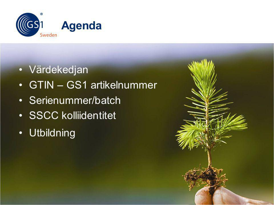 © 2012 GS1 Sweden Agenda •Värdekedjan •GTIN – GS1 artikelnummer •Serienummer/batch •SSCC kolliidentitet •Utbildning