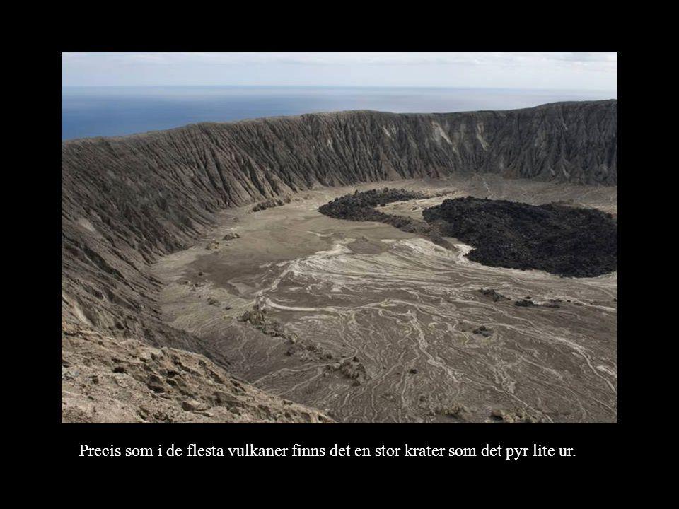 Precis som i de flesta vulkaner finns det en stor krater som det pyr lite ur.