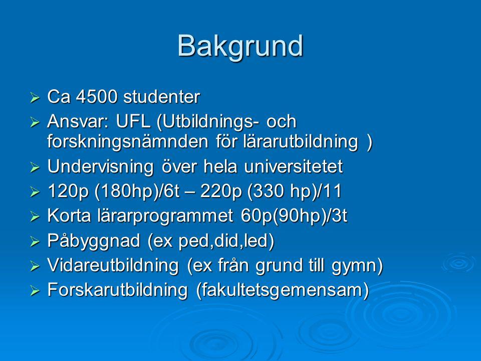 Bakgrund  Ca 4500 studenter  Ansvar: UFL (Utbildnings- och forskningsnämnden för lärarutbildning )  Undervisning över hela universitetet  120p (18