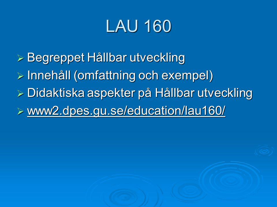 LAU 160  Begreppet Hållbar utveckling  Innehåll (omfattning och exempel)  Didaktiska aspekter på Hållbar utveckling  www2.dpes.gu.se/education/lau