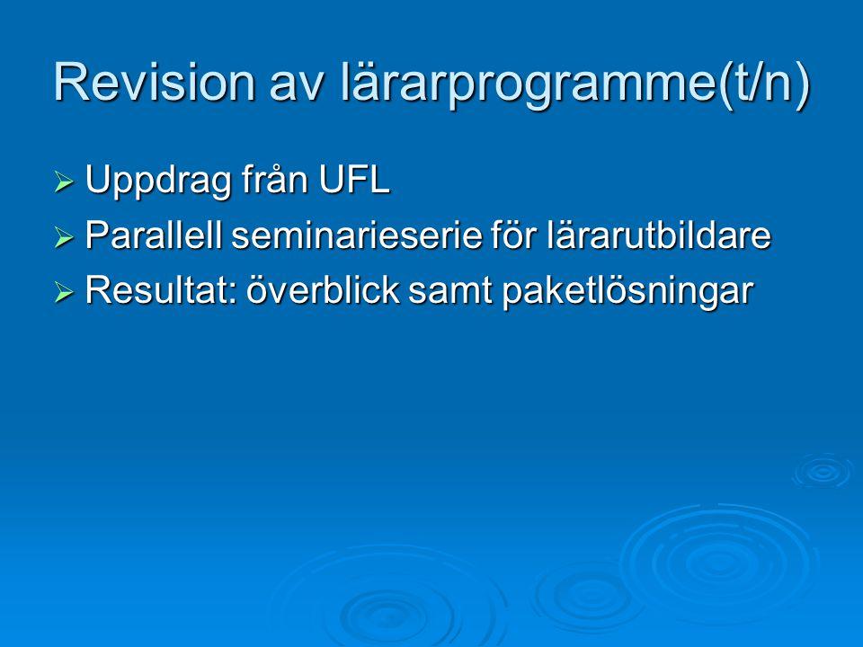 Revision av lärarprogramme(t/n)  Uppdrag från UFL  Parallell seminarieserie för lärarutbildare  Resultat: överblick samt paketlösningar