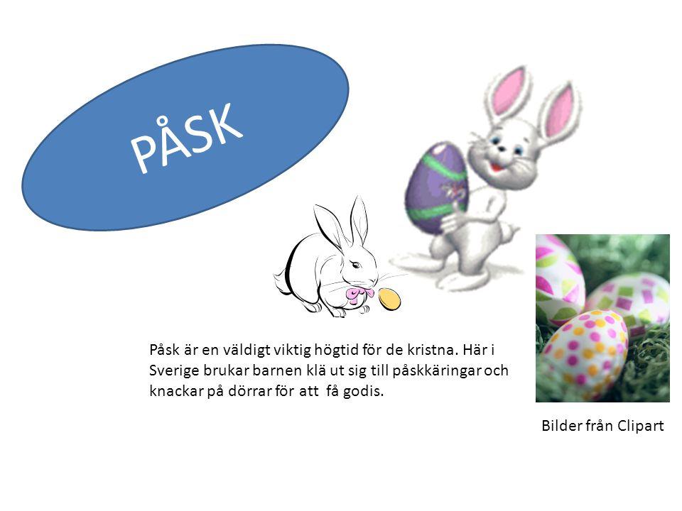 Påsk är en väldigt viktig högtid för de kristna. Här i Sverige brukar barnen klä ut sig till påskkäringar och knackar på dörrar för att få godis. PÅSK