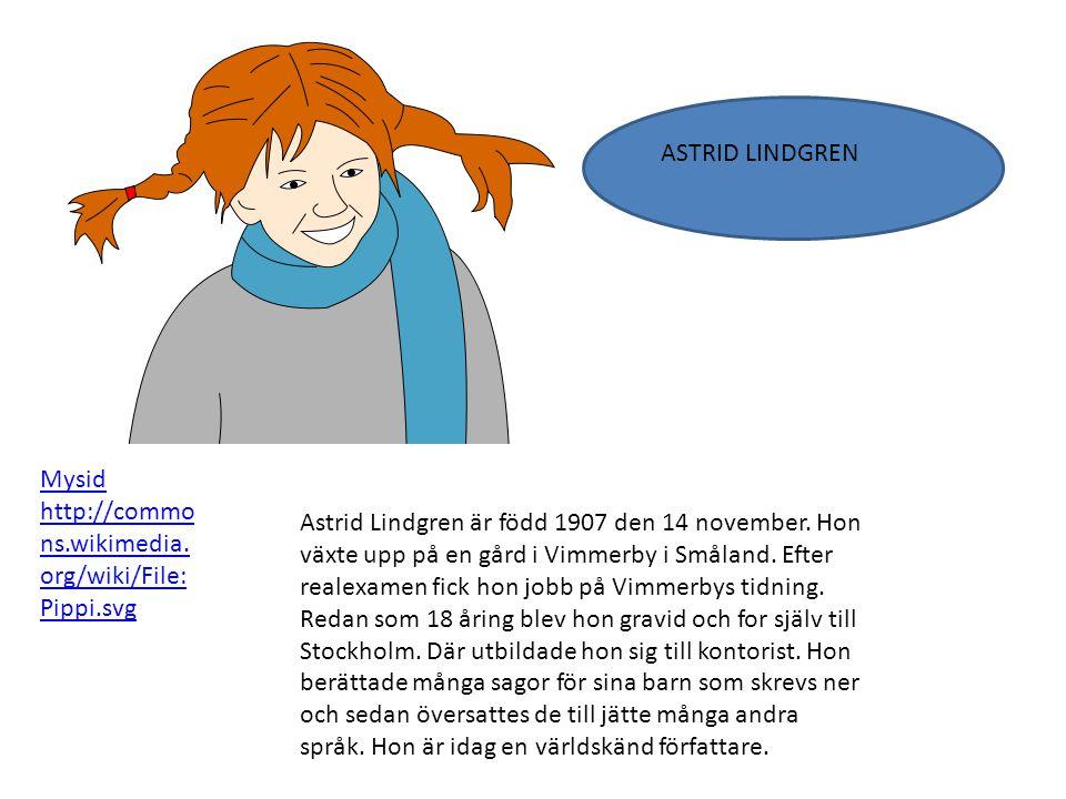 Astrid Lindgren är född 1907 den 14 november. Hon växte upp på en gård i Vimmerby i Småland. Efter realexamen fick hon jobb på Vimmerbys tidning. Reda