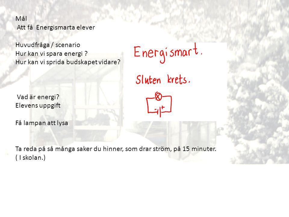 Mål Att få Energismarta elever Huvudfråga / scenario Hur kan vi spara energi ? Hur kan vi sprida budskapet vidare? Vad är energi? Elevens uppgift Få l