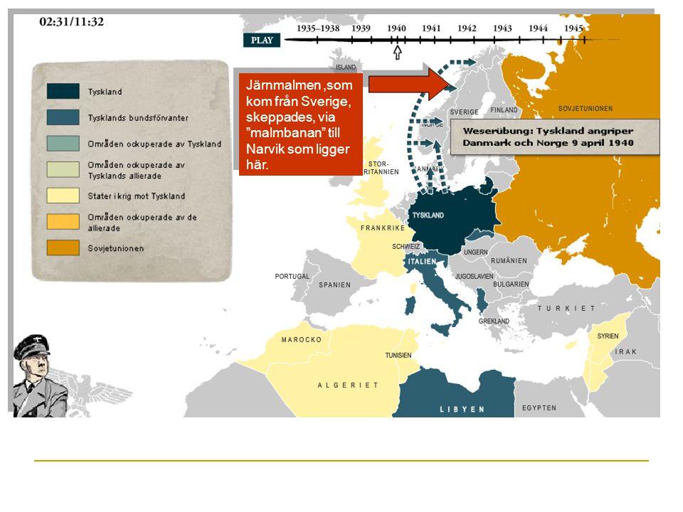 1940  Danmark och Norge togs av Tyskland den 9:e april. Syfte? D.v.s. varför ville Tyskland ta Norge och Danmark? 1. För att säkra importen av järnma