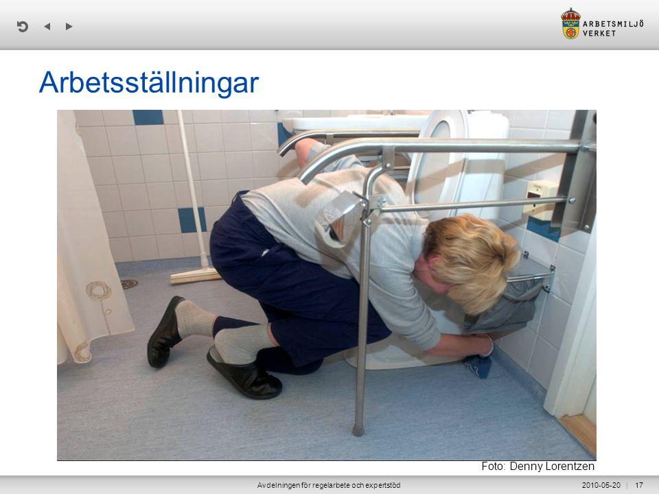 | 2010-05-20Avdelningen för regelarbete och expertstöd17 Arbetsställningar Foto: Denny Lorentzen