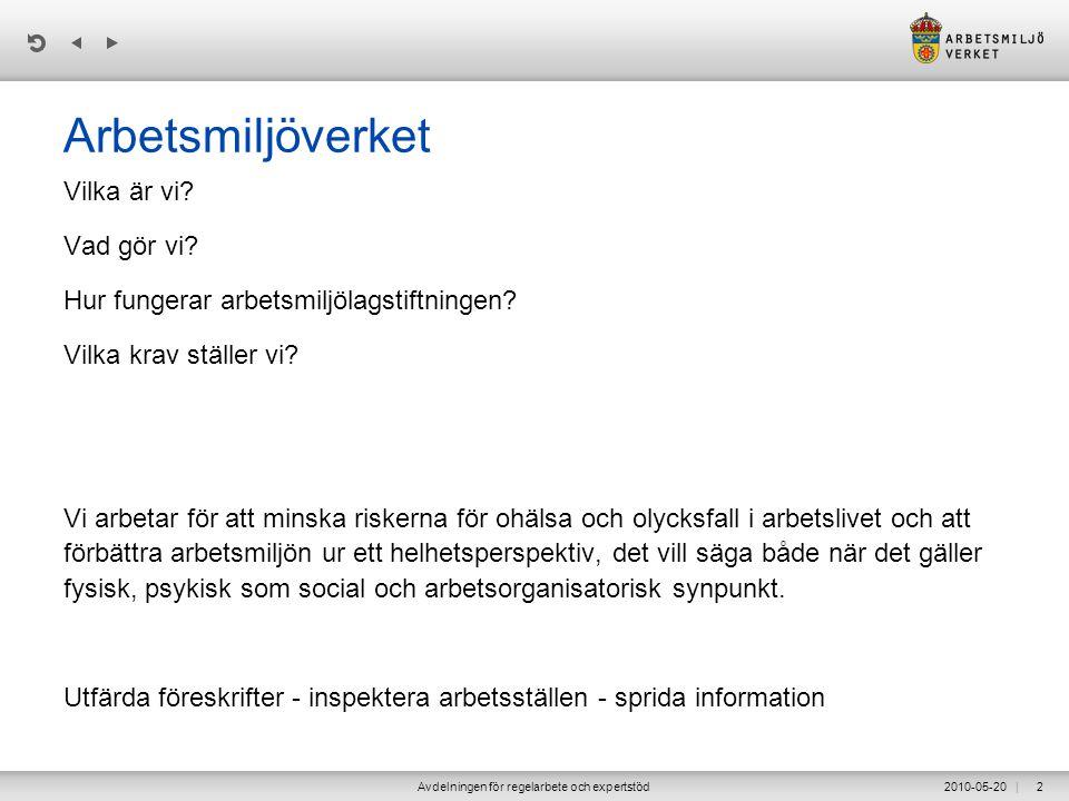 | 2010-05-20Avdelningen för regelarbete och expertstöd43 Exempel på krav enl.