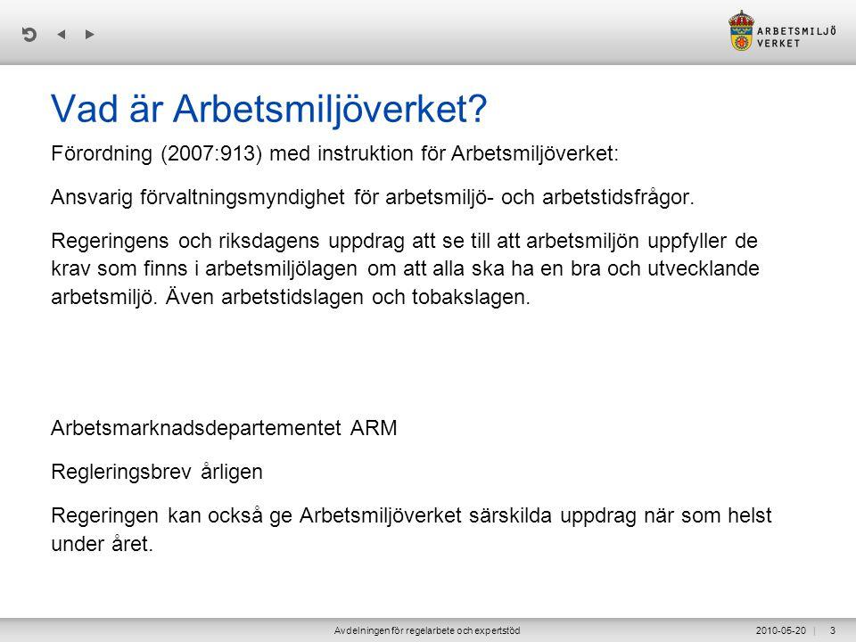 | 2010-05-20Avdelningen för regelarbete och expertstöd4 Arbetsmiljöverket •Se till att arbetsmiljön uppfyller de krav som finns i arbetsmiljölagen.